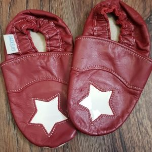 Jack and Lily red & white leather star slippers